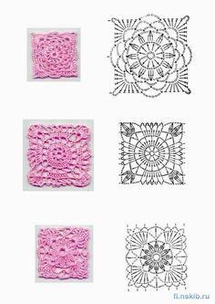 FANATICADELTEJIDO2WEB: Motivos crochet cuadrados charts, idea, picasa, patterns, crochet motif, crochet block, granni squar, motif chart, crochet squar