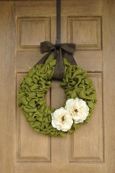 Spring Green Burlap Wreath with white flowers