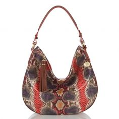 Comfy and chic with an exotic flare. The #brahmin kathleen hobo in sangria multi anaconda.