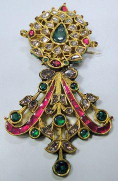 Search Results › Amrapali › NECKLACES  Antique 20K Royal Diamond Ruby Emerald Gold Maharaja turban pin pendant