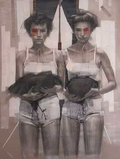 """""""Les poles"""" - Sonia Ceccotti, acrylic on paper, 2013; Italy {contemporary figurative artist two standing women holding birds fowl mixed-media texture painting}"""