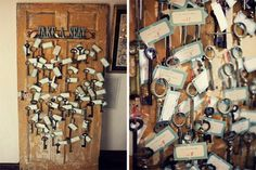 Some more vintage door wedding decor.  This bride added antique keys to her place cards for an added touch of charm.  vintage doors.  vintage keys.  wedding decor.  rustic wedding. vintage wedding. wedding decor.