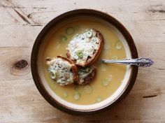 Beer Soup with Cheddar & Mustard Croutons by feastingonart as adapted from the Octoberfest Cookbook #Beer_Soup #feastingonart #Oktoberfest_Cookbook