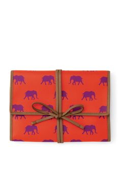 Orange & Purple Elephant Print Jewelry Roll Clutch | Bring It Clutch | Stella & Dot