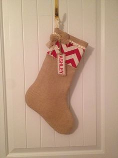 Burlap Christmas Stocking with Monogram on Etsy, $40.00