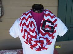 Georgia Bulldogs Red & White Game Day Chevron Infinity Scarf  Knit Jersey on Etsy, $28.00
