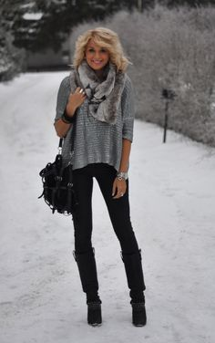 Comfy and sophisticated cute snow outfits, sweater, winter looks, snow style, black boots, fur, winter outfits, black pants, cold weather