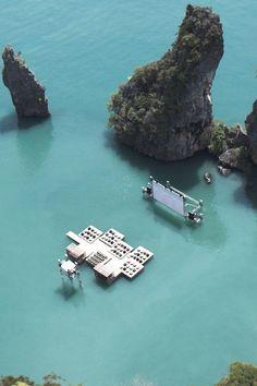 outdoor swim up movie theater in thailand