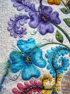 Close-up, Feathered Dogwoods by Barbara Meunier, 2012 Quiltfest, Jacksonville, FL.  Photo by Linda Matthews.  Hand painted flowers with beading.