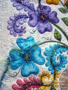 hand paint, quilt flowers, textile artists, painted quilts, 2012, painted flowers, linda matthew, barbara, paint flower
