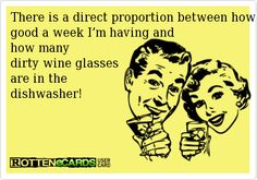 There is a direct proportion between how good a week I'm having and how many dirty wine glasses are in the dishwasher! Cheers!
