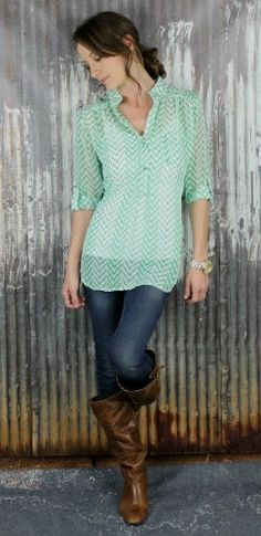 love this chevron sheer top and other items on this site! #chevron #stripes #top #cowgirl #boots
