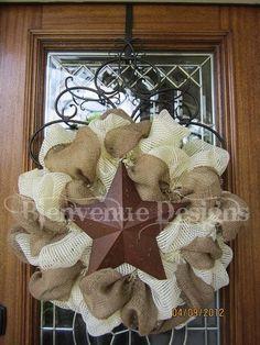 Texas Western Star Burlap Mesh Wreath by lesleepesak on Etsy, $60.00