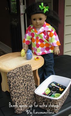 American Girl DIY Furniture. Karen mom of three's craft blthis doll storage bench made from a baby wipe container. I've made similar doll benches from wood tea boxes. Use what you have.