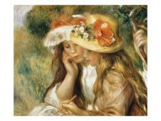 Two Girls Drawing Giclee Print by Pierre-Auguste Renoir at Art.com