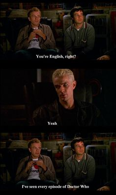 on buffy, andrew & jonathan talking to spike about doctor who