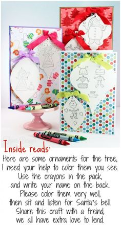 Kids Christmas cards- Color the ornaments, then they are removable to hang on the tree. #KinderMOM