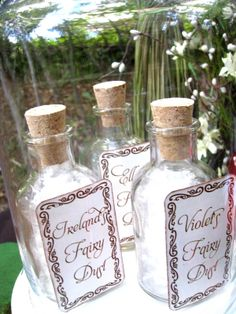 The fairy dust bottles were carefully displayed in a bell jar, to be handed out by an adult at the end of the party, for the girls to take home and use as a decoration in their room.