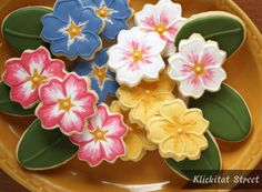 Primrose Cookies klickitat street, primros cooki, flower cookies, brushes, brush embroideri, flowers, texas hill country, embroidery, sugar