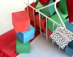 Use food coloring and vinegar to dye wooden blocks.