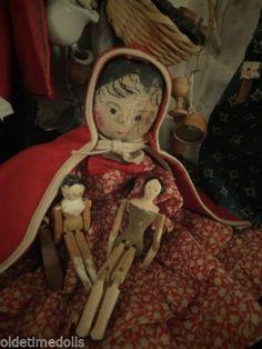 11 Antique Wooden Peg Jointed Wood Dolls German Made | eBay