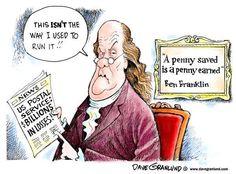 servic humor, ben franklin, offic funni, postal cartoon, postal servic