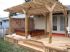 patio pergola ideas - replace the hot tub with a sitting area ;0)