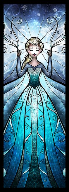 The Snow Queen Art Print by Mandie Manzano glass art, snow queen, art prints, kingdom hearts, stain glass, frozen movie, stained glass, face painting designs, disney frozen