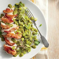 Bacon-Wrapped Chicken with Basil Lima Beans | A basil puree makes a quick sauce for chicken and lima beans. | SouthernLiving.com