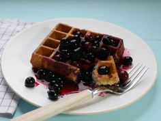 Corn Waffles with Blueberry Syrup