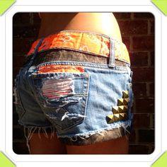 Camo and Orange Studded Cutoff Denim Shorts. by DesignedByTwo, $50.00