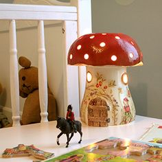 A magical toadstool night light is perfect for a Pisces child. #pisces