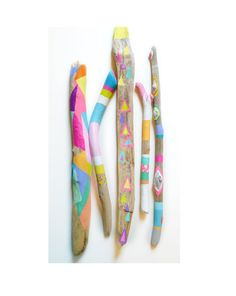 Painted Driftwood Sticks  5 Piece Collection par bonjourfrenchie, $80,00