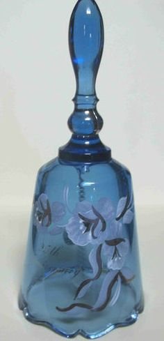 FENTON BLUE GLASS BELL 25TH ANNIVERSARY HAND PAINTED ARTIST SIGNED D FREDRICK