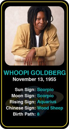Celeb #Scorpio birthdays: Whoopi Goldberg's astrology info! Sign up here to see more: https://www.astroconnects.com/galleries/celeb-birthday-gallery/scorpio?start=120  #astrology #horoscope #zodiac #birthchart #natalchart #whoopigoldberg