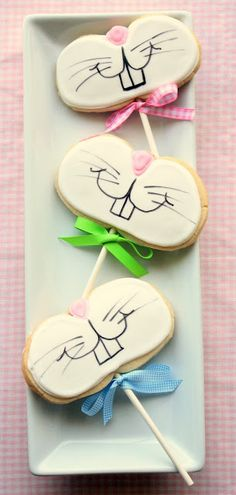 funny bunny cookies on a stick