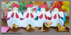 Easter chicken from egg boxes / Wielkanocne kogutki z tekturowych opakowań od jajek