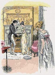 Bingley and Jane from Pride and Prejudice.  Jane Austen cross stitch kits