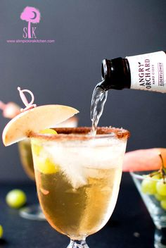 Forbidden Fruit Fizz: apple vodka and white grape juice topped off with Angry Orchard's Elderflower hard cider.