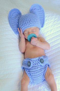 Omggggg i love this!!! Crochet Elephant Newborn Photo Prop. $20.00, via Etsy.