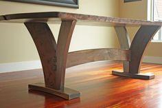 Walnut slab table - interesting legs