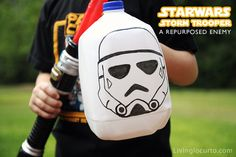 Fight a #StarWars Storm Trooper milk carton! milk carton, storm trooper, starwar, star wars crafts for kids, craft idea, star wars for kids, war craft, parti, milk jug crafts