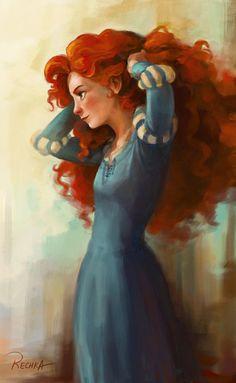 brave, fan art, disney princesses, merida, disney art