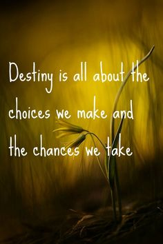 Destiny is all about the choices we make and the chances we take.