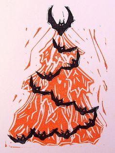 spooky christmas tree w bats by craftyhag, via Flickr