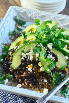 Black Bean with Farro and Avocado reluctantentertainer.com