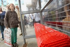 This London bus stop is made entirely from 100,000 Lego bricks lego brick, london bus, bus stop, lego build