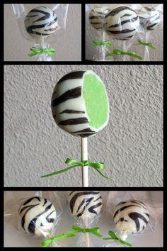 Zebra cake pops. Cute!!