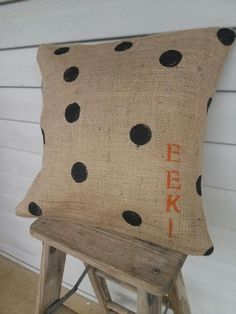 Halloween Burlap Pillow by ReclaimedGoods1 on Etsy, $22.00