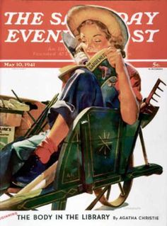 Norman Rockwell - The Saturday Evening Post - May 10, 1941  (Note the Agatha Christie book that is beginning in this issue: The Body in the Library)